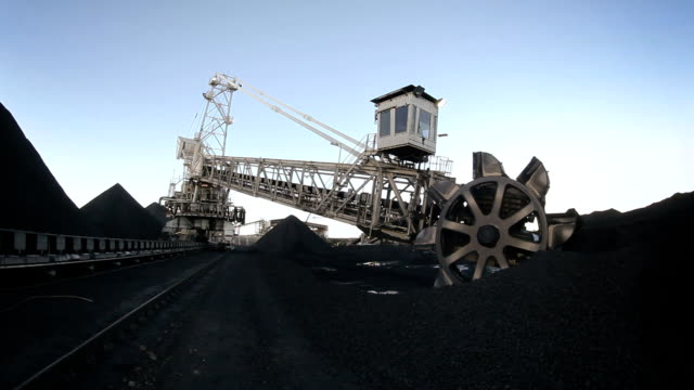 bucket wheel - fish eye lens - coal mine stock videos & royalty-free footage