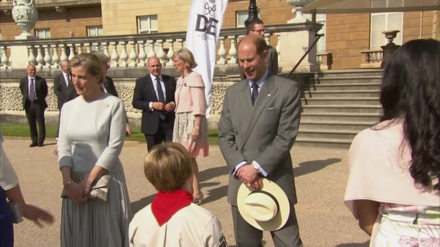 buckingham palace garden party; prince philip, prince edward and sophie, countess of wessex stand on steps for national anthem / prince philip,... - prince edward, earl of wessex stock videos & royalty-free footage