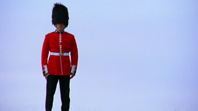 pan portrait buckingham palace guard standing on hill / tilt up tilt down sky / london, england - 近衛兵点の映像素材/bロール