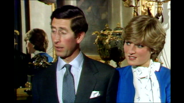 int prince charles and lady diana interview sot delighted and happy and amazed she's been brave enough to take me on q and i suppose in love of... - kensington palace video stock e b–roll