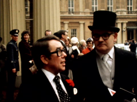 ronnie corbett ronnie barker b precomm ms ronnie corbett ronnie barker with medals ekt 16mm itn 23 secs 145 ft - 1978 stock videos & royalty-free footage