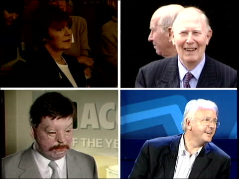 buckingham palace reception for british achievers itn delia smith / roger bannister / simon weston / pete waterman - delia smith stock videos and b-roll footage