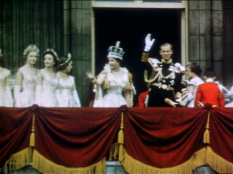 june 2 1953 queen elizabeth ii prince philip waving from balcony after coronation / london - elizabeth ii stock videos & royalty-free footage
