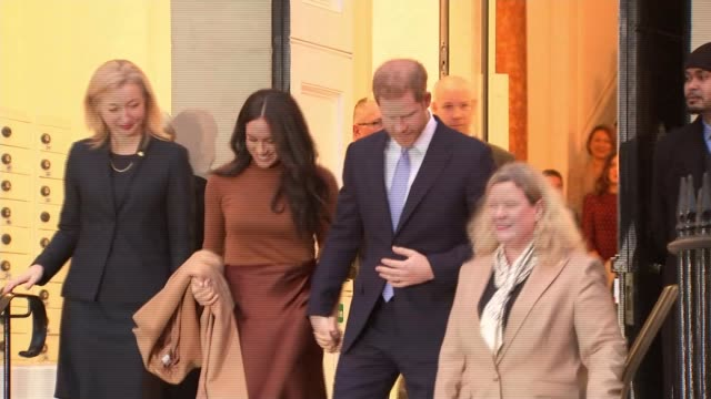 buckingham palace working at pace to clarify future role of the duke and duchess of sussex uk london westminster canada house prince harry duke of... - canada house stock videos and b-roll footage