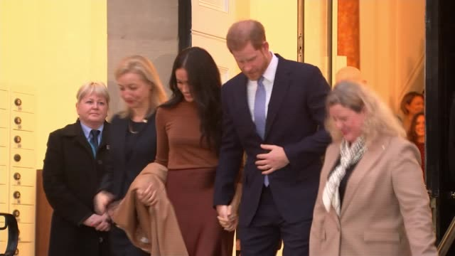 """buckingham palace working """"at pace"""" to clarify future role of the duke and duchess of sussex; uk, london, westminster, canada house: prince harry,... - prince harry stock videos & royalty-free footage"""