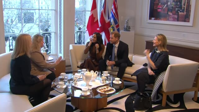 """buckingham palace working """"at pace"""" to clarify future role of the duke and duchess of sussex; uk, london, westminster, canada house: meghan, duchess... - prince harry stock videos & royalty-free footage"""