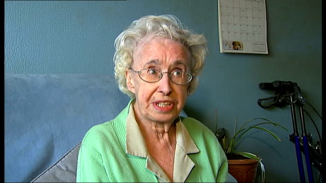 Buckinghamshire High Wycombe Margaret Shepherd locking front door and putting security chain in place Margaret Shepherd interview SOT Margaret and...