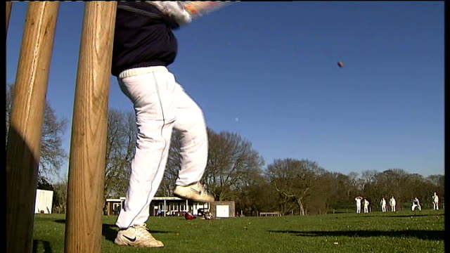 Buckinghamshire villagers complain about noise of nets practice ENGLAND Buckinghamshire The Lee EXT Village green cricket team at nets practice