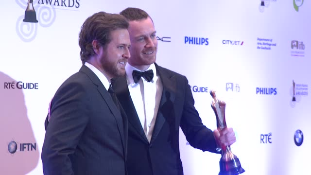 buckley and michael fassbender at the iftas at convention centre dublin, ireland on february 11th 2012 - irish film and television awards stock videos & royalty-free footage