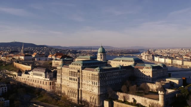 buda castle from the air - river danube video stock e b–roll