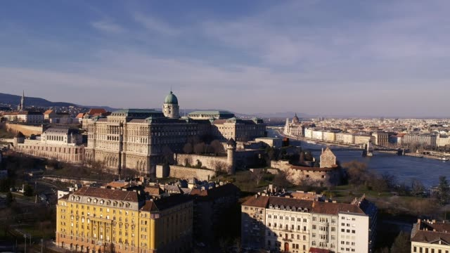 buda castle from the air - széchenyi chain bridge stock videos & royalty-free footage