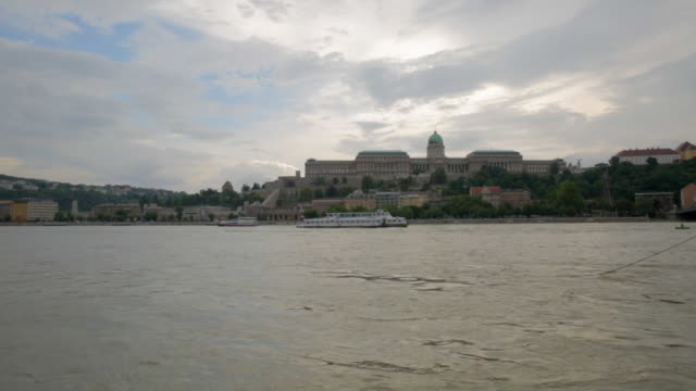 buda castle over the danube - long shot - royal palace of buda stock videos & royalty-free footage
