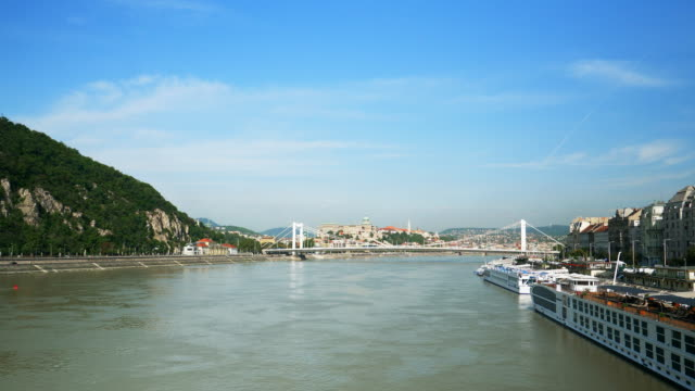 budapest and danube river viewed from the south - royal palace of buda stock videos & royalty-free footage