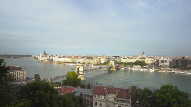 t/l budapest and the széchenyi chain bridge viewed from castle hill - széchenyi chain bridge stock videos and b-roll footage