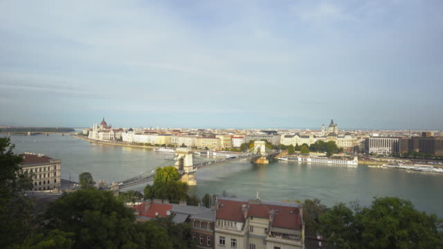 budapest and the széchenyi chain bridge viewed from castle hill - széchenyi chain bridge stock videos and b-roll footage