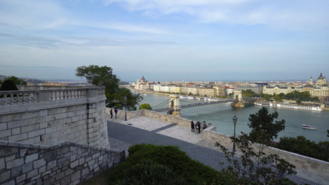 budapest and the széchenyi chain bridge viewed from castle hill - széchenyi chain bridge stock videos & royalty-free footage