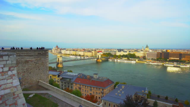 budapest and the széchenyi chain bridge viewed from castle hill - chain bridge suspension bridge stock videos & royalty-free footage