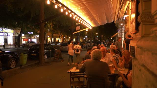 budapest andrássy út night street scene - hungary stock videos & royalty-free footage
