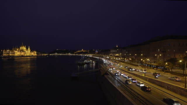 budapest arterial road and the parliament building at night - royal palace of buda stock videos & royalty-free footage