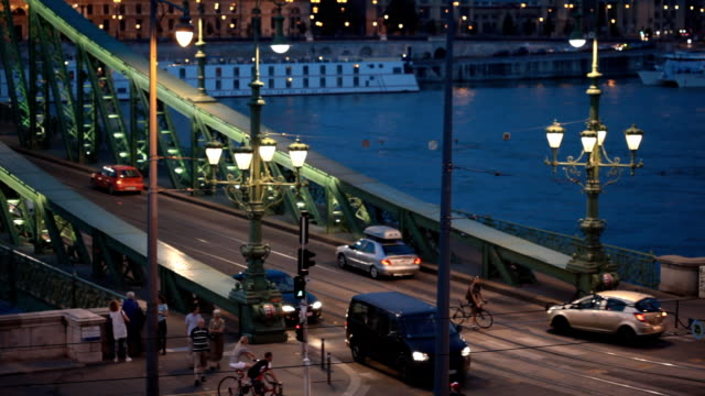 budapest at evening - liberty bridge budapest stock videos & royalty-free footage