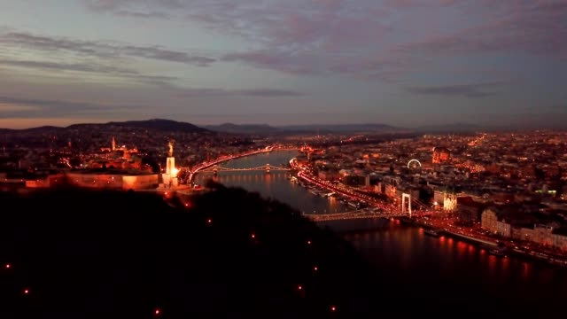 budapest at night from above gellert hill - széchenyi chain bridge stock videos and b-roll footage