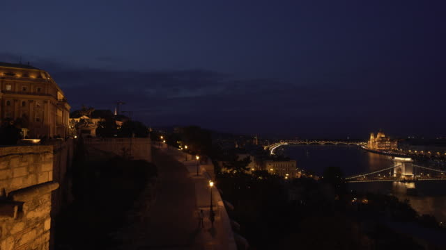 budapest at night viewed from royal palace on buda castle hill - royal palace of buda stock videos & royalty-free footage