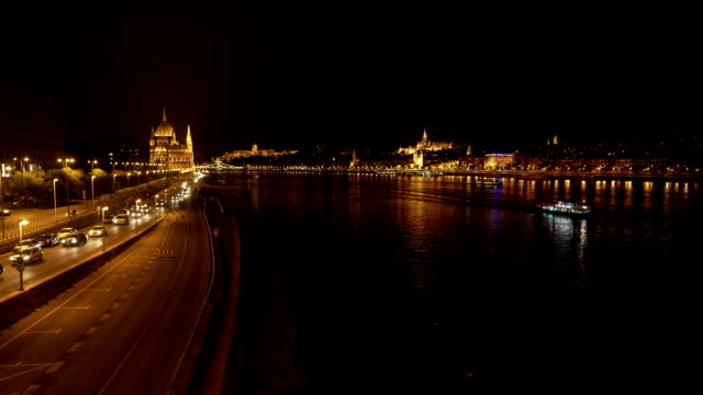 budapest at night viewed from the nord - royal palace of buda stock videos & royalty-free footage