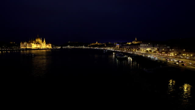 budapest at night viewed from the north - royal palace of buda stock videos & royalty-free footage