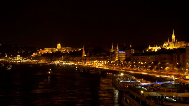 budapest castle hill at night cinemagraph - budapest stock videos & royalty-free footage
