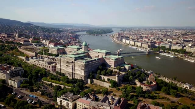 budapest castle hill district with the royal palace - royal palace of buda stock videos & royalty-free footage
