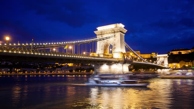 budapest chain bridge by night - széchenyi chain bridge stock videos & royalty-free footage