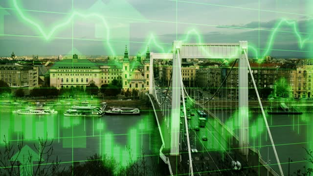 budapest city life skyline scene with positive growth chart and graph data. concept piece to indicate improving tourism, gdp, stock market crash, recession, depression, inflation, deflation, bull market, good national economic and business performance - bull market stock videos & royalty-free footage