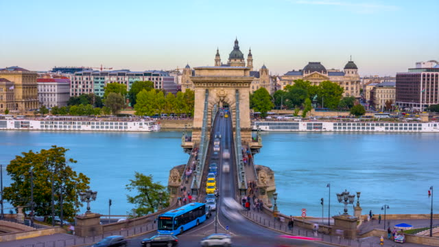 budapest city skyline with st. stephen's basilica and chain bridge at danube river, day to night time lapse, budapest, hungary - budapest stock videos & royalty-free footage
