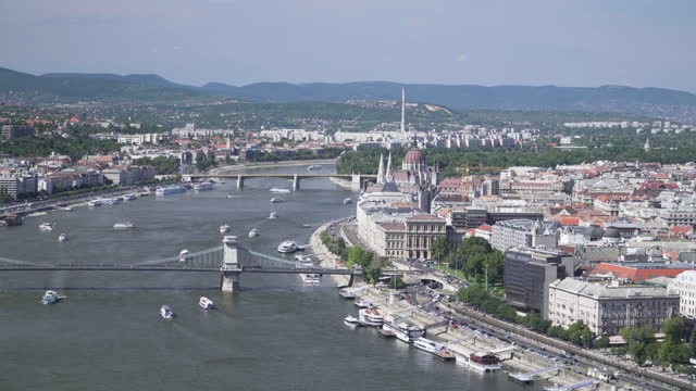 budapest cityscape among the hungarian parliament and the chains bridge, széchenyi chain bridge with a busy day of the weekend with a traveler, traffic jam and transportation in summer of  budapest, hungary, panning high angle side view, - széchenyi chain bridge stock videos & royalty-free footage