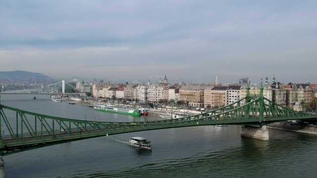 budapest cityscape and liberty bridge - liberty bridge budapest stock videos & royalty-free footage