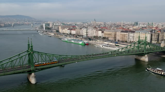 budapest cityscape and liberty bridge - cable car stock videos & royalty-free footage