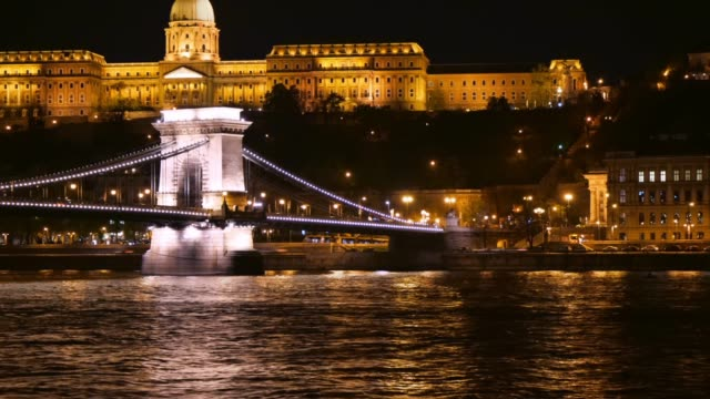 budapest cityscape - chain bridge and buda hill at night - chain bridge suspension bridge stock videos & royalty-free footage