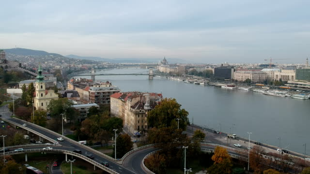Budapest Cityscape from behind the Gellert Monument on the Gellert Hill