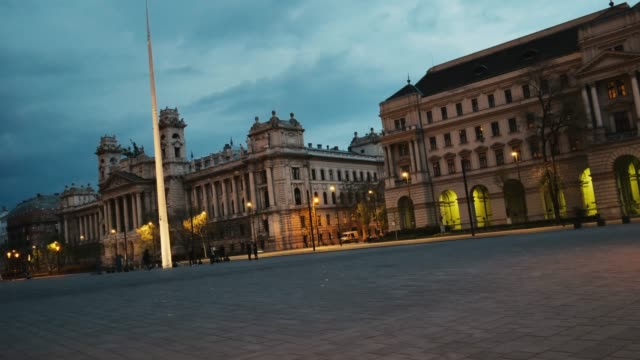 budapest cityscape - parliament square in dusk - parliament building stock videos & royalty-free footage