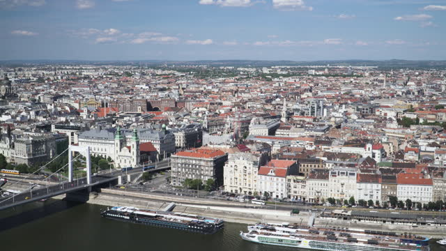 budapest cityscape view along danube river with  transportation city street view at an area of vintage cable car on elisabeth bridge, hungary including hotel boat at riverbank, high angle tilt view - traditionally hungarian stock videos & royalty-free footage