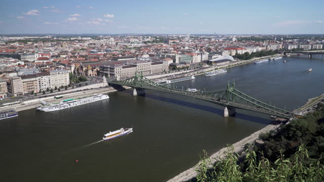 budapest cityscape view at an area of vintage cable car on liberty bridge, budapest, hungary, high angle paning view - traditionally hungarian stock videos & royalty-free footage