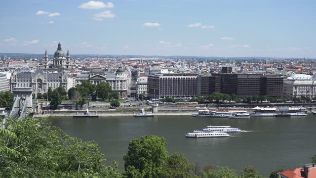 budapest cityscape view belong danube view, széchenyi chain bridge at weekend, budapest, hungary among a group of traveler and transportation, car and tour boat, high angle panning view - széchenyi chain bridge stock videos & royalty-free footage