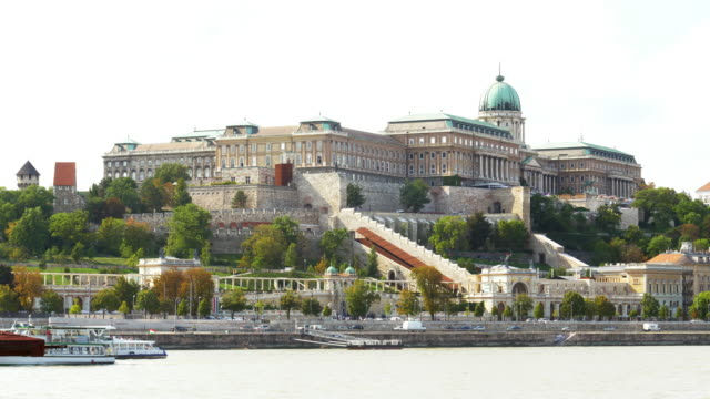 budapest danube river and buda castle hill - royal palace of buda stock videos & royalty-free footage