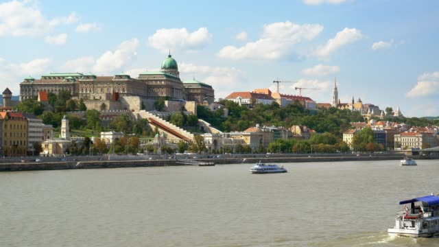 budapest danube river and buda castle hill - castle hill budapest stock videos and b-roll footage