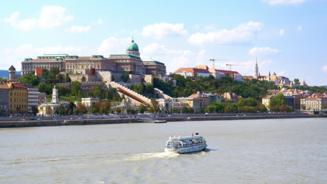 budapest danube river and castle hill - budapest stock videos & royalty-free footage
