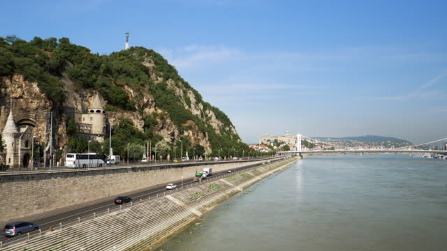 budapest danube riverbank and gellert hill - royal palace of buda stock videos & royalty-free footage