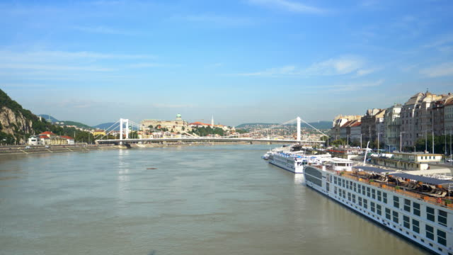 budapest danube riverbank from the south - royal palace of buda stock videos & royalty-free footage