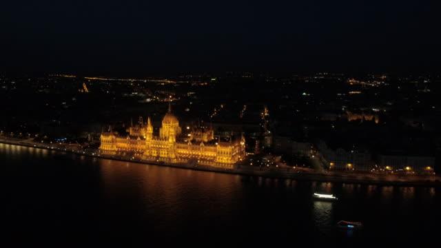 vídeos y material grabado en eventos de stock de budapest drone de nigth. 4k - budapest