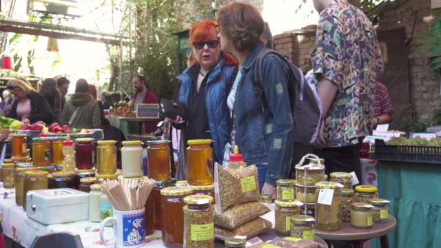 budapest farmer's market at szimpla - sweet food stock videos and b-roll footage