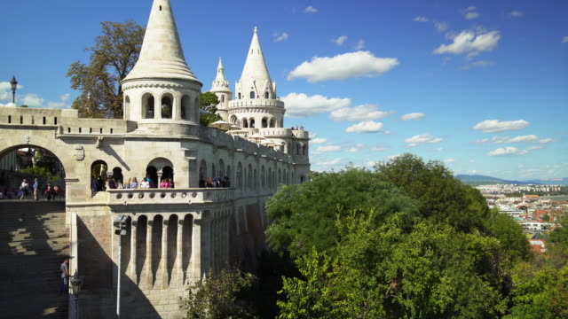 budapest fishermen's bastion on sunny day - traditionally hungarian stock videos & royalty-free footage